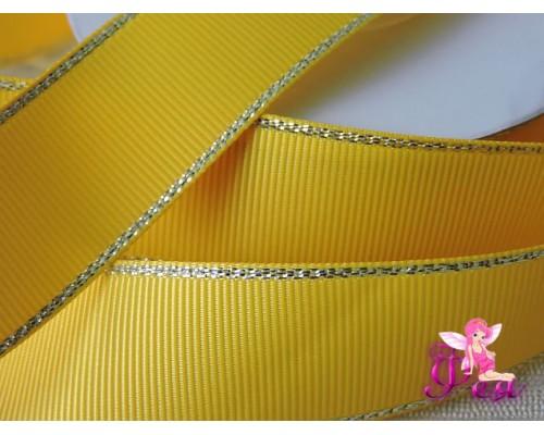Репсовая лента 25 мм с люрексом Premium,  цв. желтый № 645