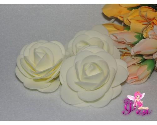 Роза 6 см из фоамирана, цв. бежевый