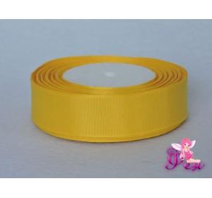 Однотонная репсовая лента 25 мм,  цв. желтый -1 м