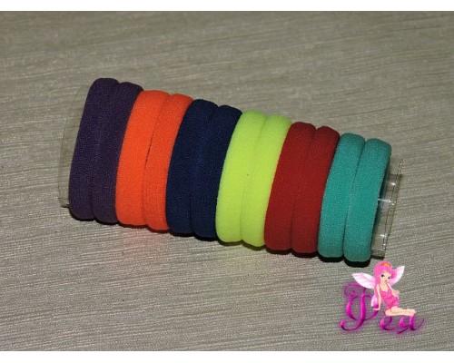 Бесшовные резинки для волос 4 см, цв. микс цветной 2, в тубе 12 шт