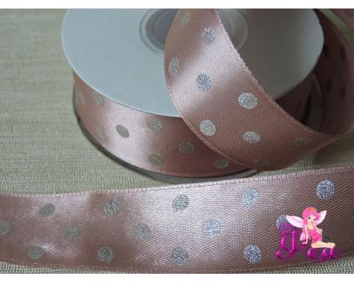 Атласная лента 25 мм в горошек серебряный, цв. розовый