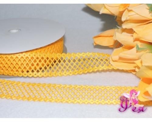 Декоративная лента 25 мм, желтого цвета