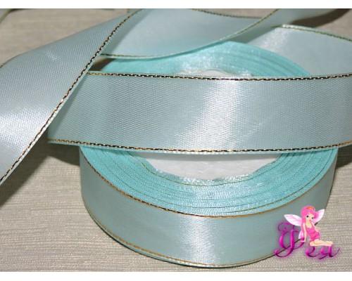 Атласная лента 25 мм,с золотым люрексом нежно-голубого цвета.