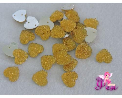 Стразы пришивные (Сердце блестящее) 12 мм, желтый