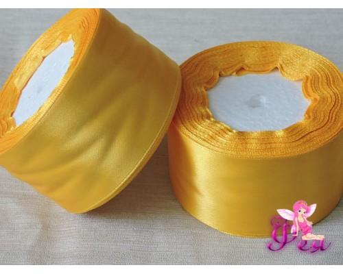 Однотонная атласная лента 50 мм, ярко-желтый -1м