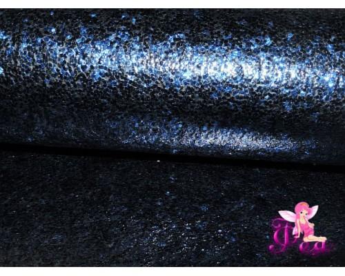 """Искусственная кожа """"Блестки-ламинация"""" 0.7 мм, цв. синий"""