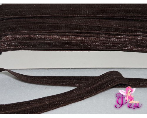 Тесьма эластичная 1.5 см, цв. шоколадный