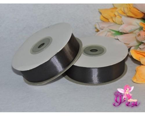 Однотонная атласная лента 25 мм , цв. серый