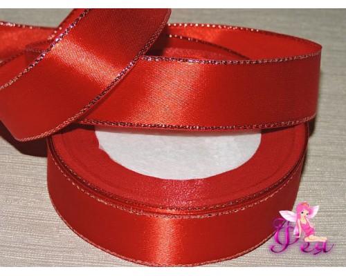 Атласная лента 25 мм,с  серебряным люрексом красного цвета.