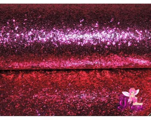 """Искусственная кожа """"Блестки-ламинация"""" 0.7 мм, цв. фуксия"""