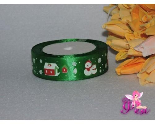 "Атласная лента ""Снеговик"" 25 мм, цвет зеленый"