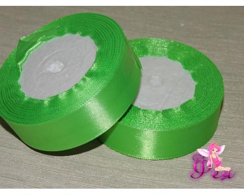 Атласная лента 25 мм, цв. ярко-зеленый- 1 м