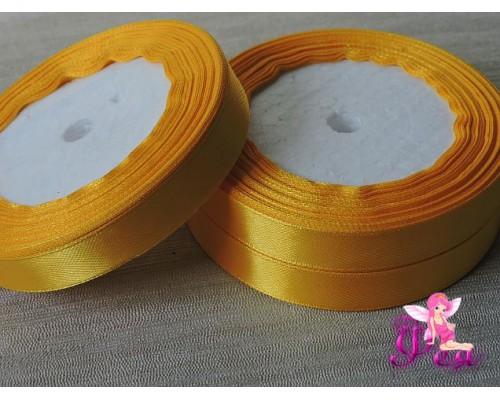 Атласная лента 12 мм, цв.  желтый - 1 м