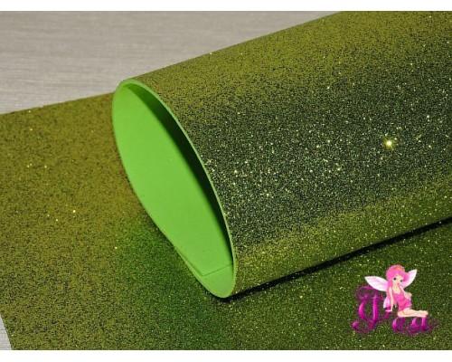 Фоамиран глиттерный 2мм (20*30см), цв. золотисто-зеленый-1 лист