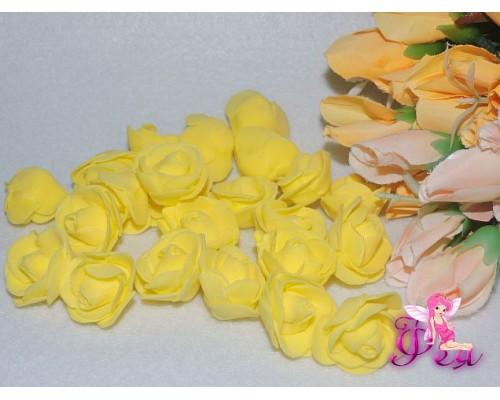 Роза 2,5 см из фоамирана, цв. желтый