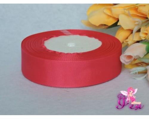 Однотонная репсовая лента 25 мм, цв. неоново-розовый - 1 м