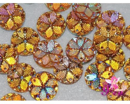 """Пришив. кабошоны """"Круг-цветок"""" 15 мм , золотой радужный - 1 шт"""