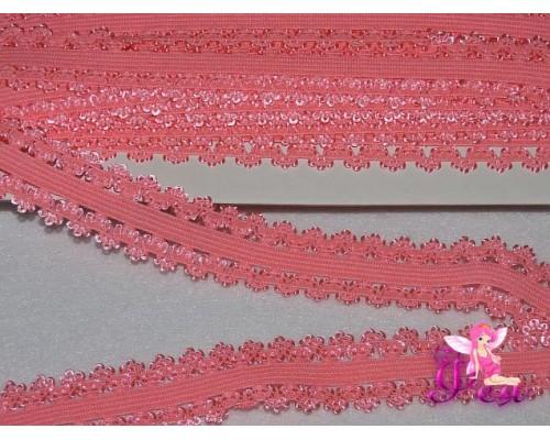 Тесьма-резинка с кружевом 2см, розовый персик