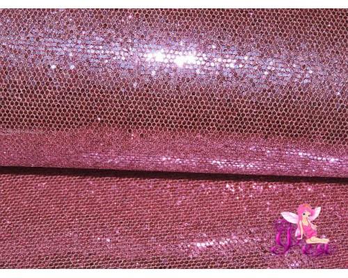 """Искусственная кожа """"Сетка-зеркальные блестки"""" 0.5 мм, цв.  светло-розовый"""