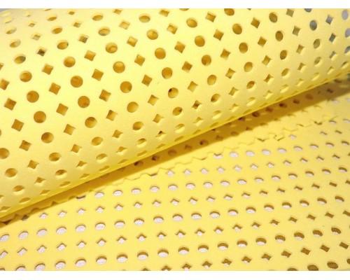 Фоамиран декоративный 2 мм (20*30 см), в дырочки, цв. желтый - 1 лист