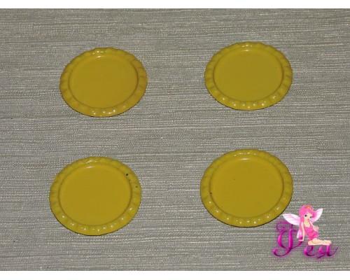 Крышечка для кабошона металл (25мм),цв. светло-желтый - 1 шт.