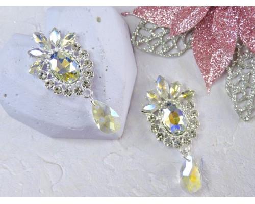 Серединка ювелирная, цв. серебро/радужный - 1 шт