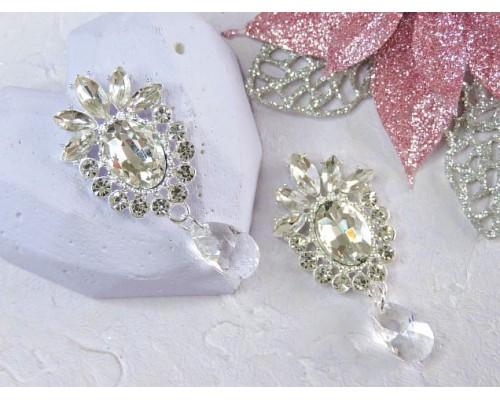 Серединка ювелирная с подвеской, цв. серебро/серебро - 1 шт.
