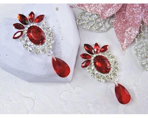Серединка ювелирная, цв. серебро/бордовый - 1 шт
