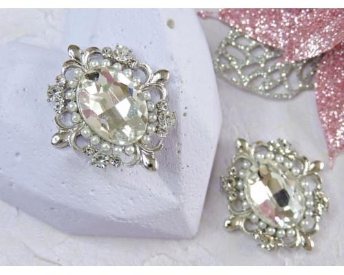 Серединка ювелирная, цв. серебро - 1 шт.