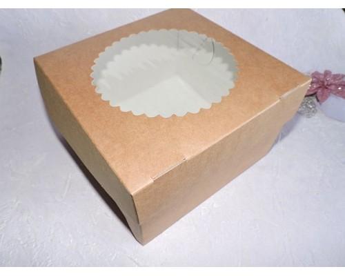 Коробка двухсторонняя бел/крафт с фигурным окошком - 1 шт.