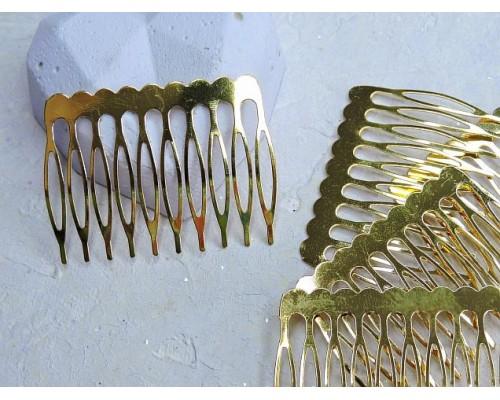 Гребень металлический 5 см, цв. золото - 1 шт.