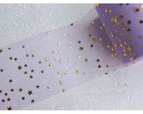 """Фатин """"Звездочки"""" 5,5 см, цв. фиолетовый/золото- 1 м."""