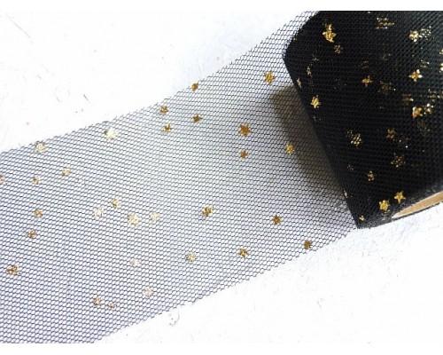 """Фатин """"Звездочки"""" 5,5 см, цв. черный/золото- 1 м."""