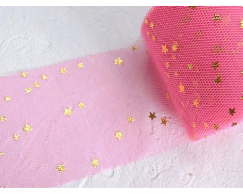 "Фатин ""Звездочки"" 5,5 см, цв. ярко-розовый/золото- 1 м."