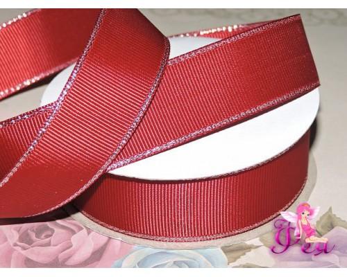 Репсовая лента 25 мм с люрексом серебро Premium, цв.  бордовый - 1м