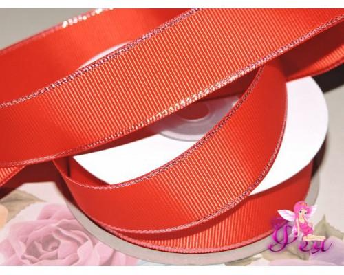 Репсовая лента 25 мм с люрексом серебро Premium, цв.  красный - 1м