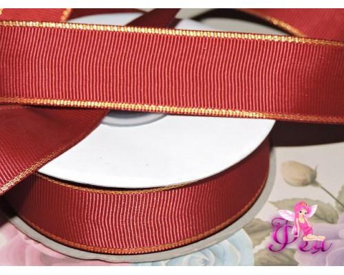 Репсовая лента 25 мм с люрексом золото Premium, цв.  бордовый  - 1м
