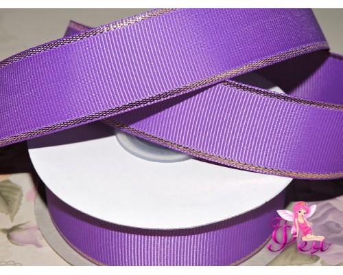 Репсовая лента 25 мм с люрексом золото Premium, цв. фиолетовый - 1м