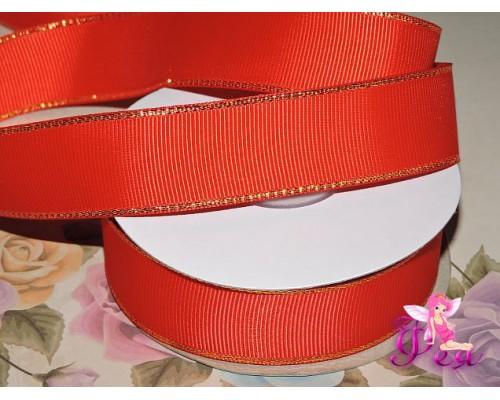 Репсовая лента 25 мм с люрексом золото Premium, цв.  красный - 1м