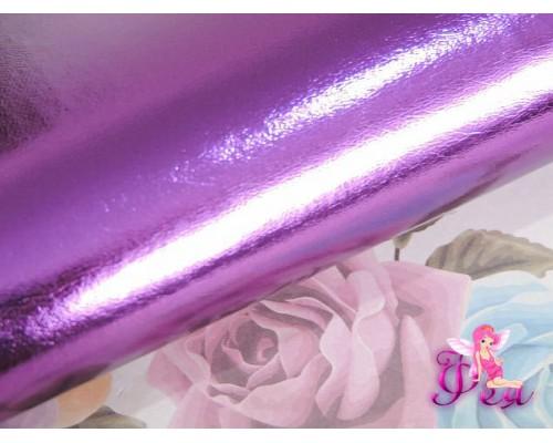"""Кожзам """"Металлик"""" , фиолетового цвета"""