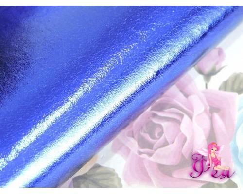 """Кожзам """"Металлик"""" , синего  цвета"""