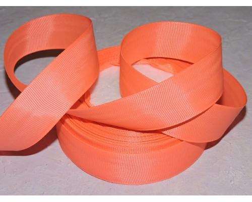 Репсовая лента 25 мм, цв. неоновой оранжевый - 1м.