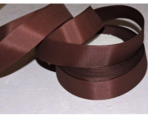 Репсовая лента 25 мм, цв. темно-коричневый - 1 м.