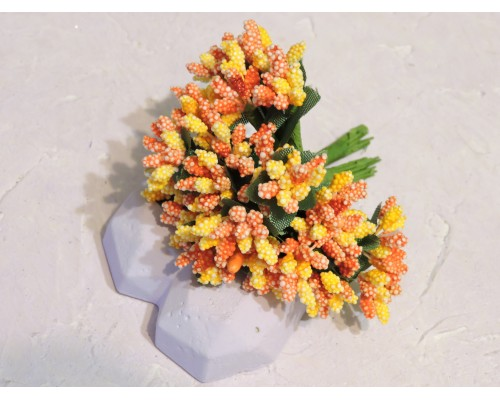 Букетик тычинок из 12 шт, цв. оранжево-желтый  - 1 букетик.