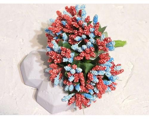 Букетик тычинок из 12 шт, цв. бордово-голубые - 1 букетик.