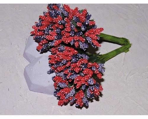 Букетик тычинок из 12 шт, цв. красно-фиолетовый - 1 букетик.
