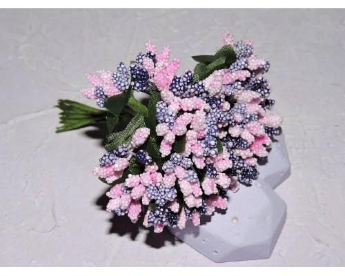 Букетик тычинок из 12 шт, цв. розово-фиолетовый - 1 букетик.