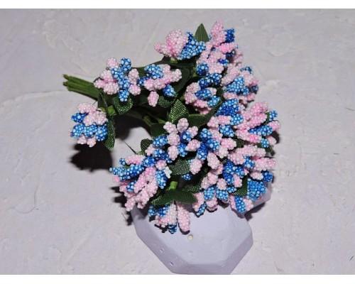 Букетик тычинок из 12 шт, цв. розово-синий - 1 букетик.