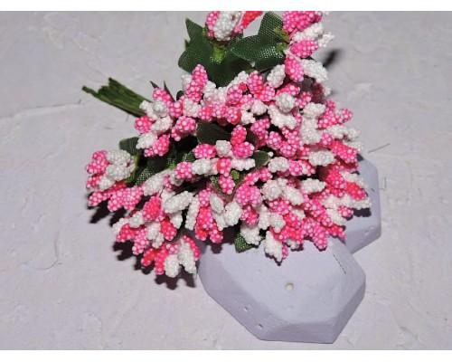 Букетик тычинок из 12 шт, цв. бело-розовый - 1 букетик.