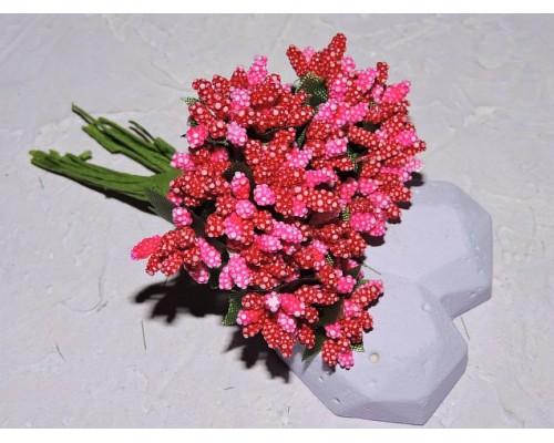 Букетик тычинок из 12 шт, цв. ярко-розово-красный  - 1 букетик.